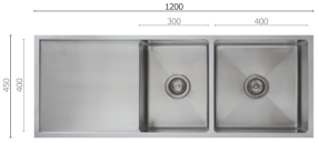 UTR5 1 3/4 Double Bowl Sink with Drainer